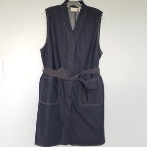 NWT Chico's dark denim tie waist vest dress jacket
